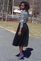 black tulle skirt Ebay skirt - blue heels