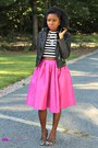 Pink-midi-skirt-sheinside-skirt-statement-stella-dot-necklace