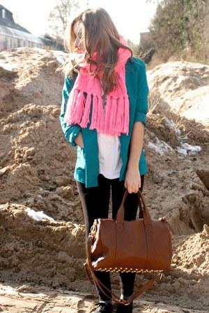 bubble gum H&M scarf - black Melrose leggings - turquoise blue H&M blazer