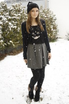 H&M skirt - no name hat - H&M shirt - Ebay tights - H&M cardigan