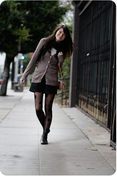 brown cardigan - black shorts - black House of Holland for Pretty Polly tights -