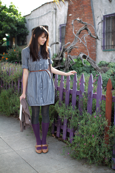 purple socks - brown shoes - green dress - brown belt