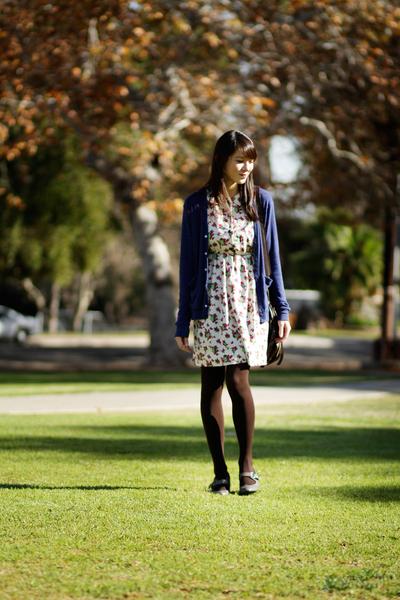 beige modcloth dress - blue American Apparel cardigan - gray modcloth shoes
