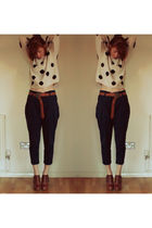 brown Chloe shoes - black Rare via Topshop pants - beige H&M sweater