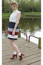 beige Topshop blouse - brown Chloe shoes - blue handmade skirt