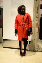 red H&M Trend coat - polka dot Pimkie leggings - TK Maxx bag