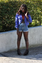blue suede H&M jacket - high waisted H&M shorts - red statement H&M necklace