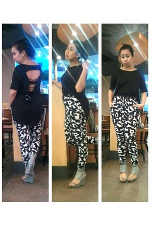 H & M pants - back ripped tux cotton on shirt - Charles & Keith wedges
