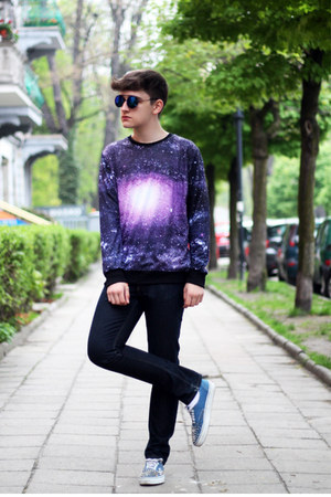 deep purple Sheinside sweatshirt - turquoise blue Vans sneakers