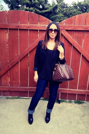 H&M blazer - Jessica Simpson shoes - Joes Jeans jeans - Louis Vuitton purse