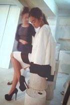 black heels - white suit