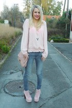 light pink Naf Naf blouse - light pink Jeffrey Campbell shoes