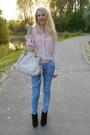 Black-stradivarius-boots-pink-naf-naf-jacket-light-pink-chloe-bag
