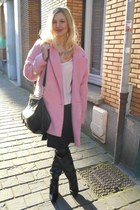pink shourouk necklace - black leather Sacha boots - bubble gum Camaïeu coat