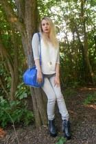 blue Alexander Wang bag - black Jeffrey Campbell boots - heather gray Ikks jeans