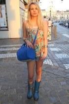 blue sendra boots - blue Alexander Wang bag - salmon Topshop top