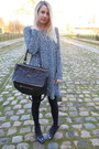 Blue-zara-dress-black-leather-givenchy-bag