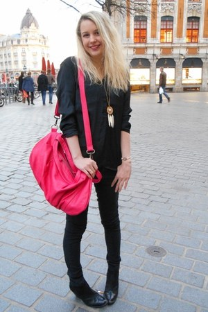 black San Marina boots - hot pink NAT&NIN bag - black Zara blouse