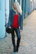 black leather SANDRO leggings - charcoal gray leather jacket Kookai jacket