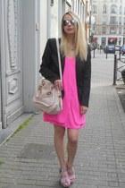 light pink Chloe bag - hot pink Topshop dress - black Naf Naf blazer