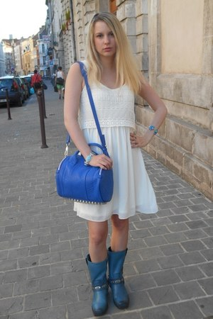 blue sendra boots - white Pimkie dress - blue Alexander Wang bag
