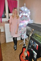 pink Zara dress - black Jeffrey Campbell boots