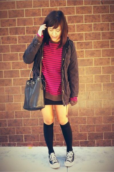 dark gray American Apparel socks - navy H&M jacket - hot pink H&M sweater