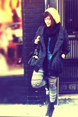 prints Forever 21 leggings - peep toe Deena &amp; Ozzy boots - L U S H coat