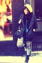 prints Forever 21 leggings - peep toe Deena & Ozzy boots - L U S H coat