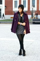 h&m denim jacket - clockhouse coat - X-Generation hat - cotton on skirt