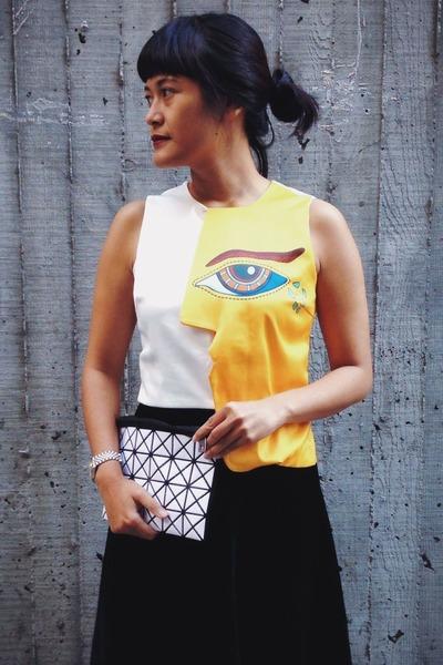 gold Choies top - white bag