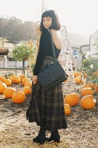 brown vintage skirt - black American Apparel dress - black Rebecca Minkoff bag