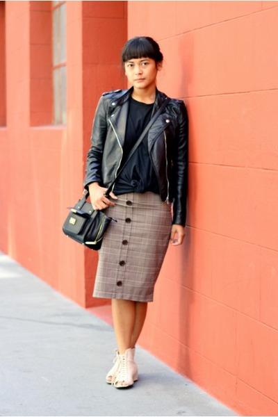 vintage skirt - faux leather H&M jacket - Phillip Lim for Target bag