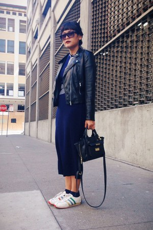 navy vintage dress - black H&M jacket - white adidas sneakers