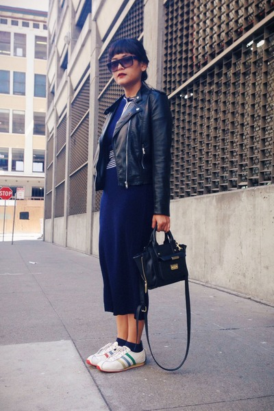 navy vintage dress - black H&M jacket - white adidas sneakers