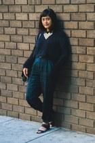 black Topshop sweater - dark green chictopia shop pants