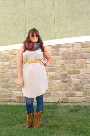 brown boots - blue We Love Colors tights - beige Target dress - gold sunglasses
