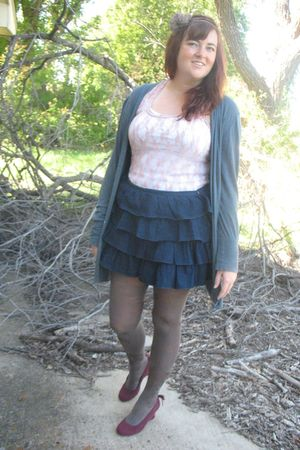 brown Chinese Laundry tights - Express skirt - Target top - gray American Appare