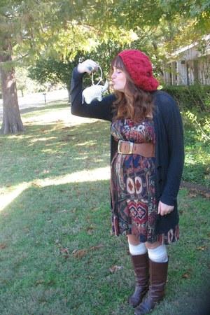 red Urban Outfitters hat - dark brown boots - skirt - beige Target socks