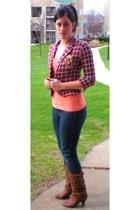 blazer - t-shirt - jeans - boots