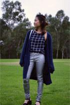 navy asos cardigan - silver Sportsgirl pants - black Chase top
