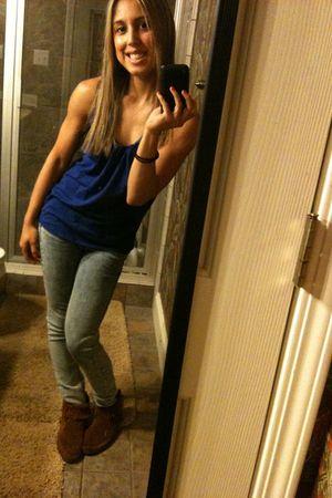 blue Target shirt - blue Forever 21 jeans - brown Minnetonka shoes
