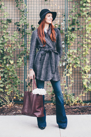 wrap coat Jack by BB Dakota coat - flare jeans J Brand jeans