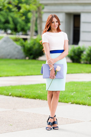 Vesper dress - purple clutch GiGi NY bag