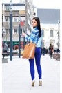 Bronze-zara-bag-blue-zara-blouse-silver-mango-necklace-blue-zara-pants