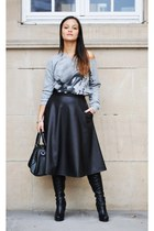 black new look boots - black Mango bag - black River Island skirt