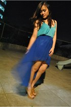 blue chiffon Pink Manila skirt - sky blue spandex Butter Shop blouse