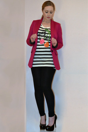 neon pink next blazer - black Topshop leggings - cherries H&M t-shirt