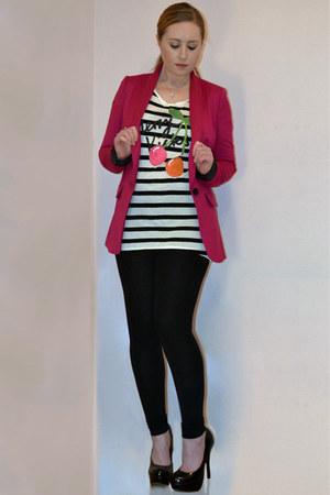 neon pink next blazer - black Topshop leggings - cherries H&M t-shirt