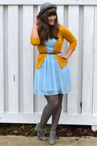 blue Rodarte for Target dress - mustard Target cardigan